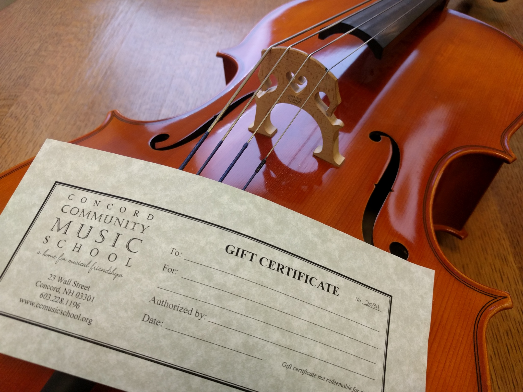 gift cert and cello
